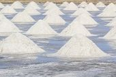 pic of salt mine  - Heap of sea salt in salt farm ready for harvest south of Thailand - JPG