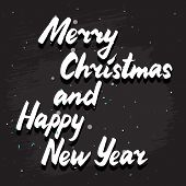 pic of merry christmas text  - Vector Merry Christmas lettering card; calligraphy congratulation; white italic text on grunge  style dark background - JPG