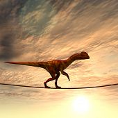 image of dinosaurus  - Concept or conceptual abstract business metaphor as wild heavy dinosaur balancing on rope over sunset sky background - JPG