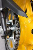image of lube  - Enduro motorbike wheel and chain - JPG