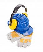 stock photo of muff  - Hard hat ear muffs and gloves - JPG