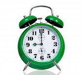 picture of analog clock  - Big green alarm clock - JPG