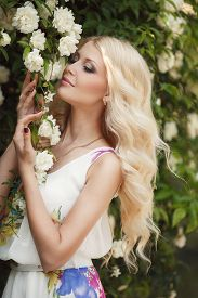 foto of wind-rose  - Gorgeous blond with long curly hair and blue eyes - JPG