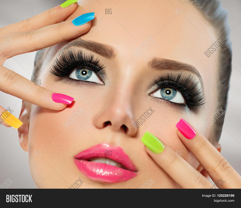 Beauty Girl Portrait With Vivid Makeup And Colorful Nail Polish. Colourful Nails. Fashion Woman ...