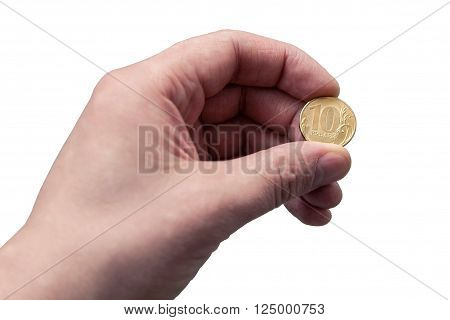 Russian coin 10 rubles in hand on white backround