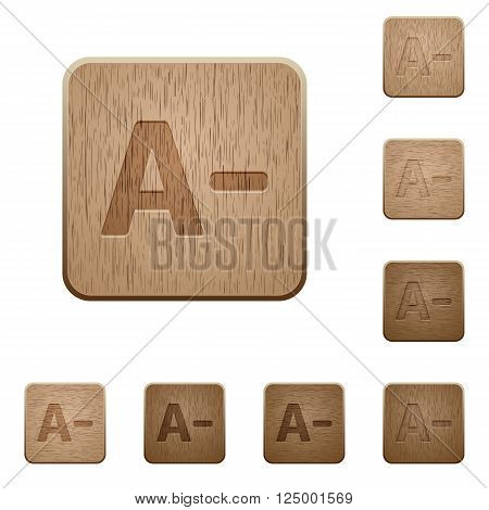 Set of carved wooden Decrease font size buttons in 8 variations.