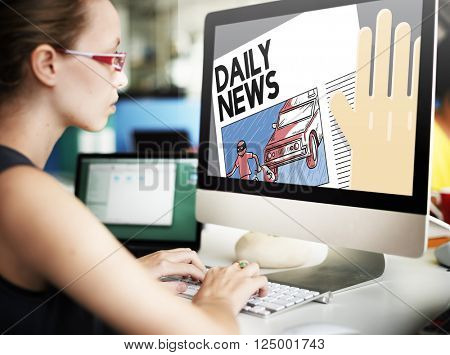 Daily News Announcement Communication Report Concept