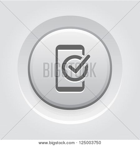 Mobile Register Icon. Online Learning. Grey Button Design