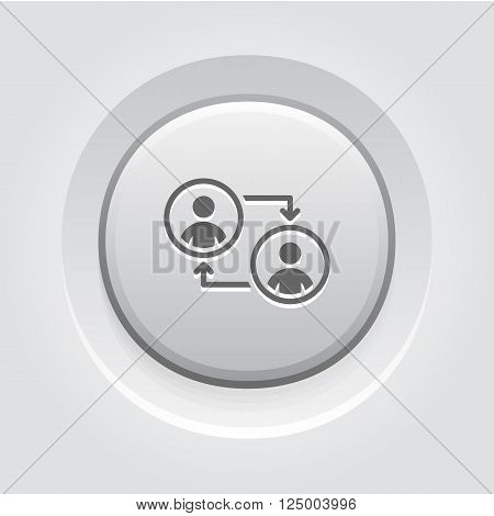 Retraining Icon. Business Concept. Grey Button Design