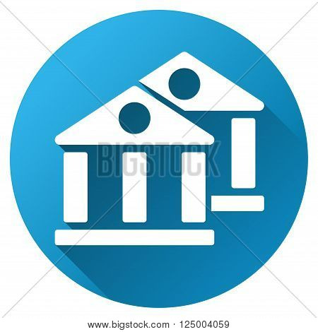 Banks vector toolbar icon for software design. Style is a white symbol on a round blue circle with gradient shadow.