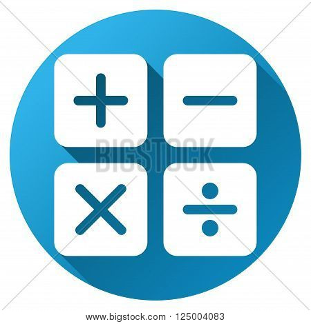 Calculator vector toolbar icon for software design. Style is a white symbol on a round blue circle with gradient shadow.