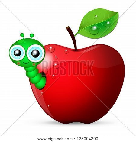 Cartoon worm coming out of an apple