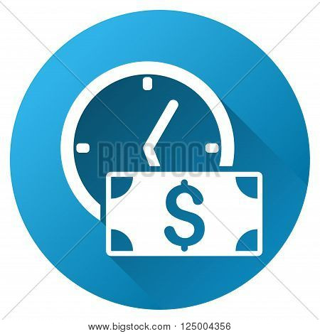 Credit vector toolbar icon for software design. Style is a white symbol on a round blue circle with gradient shadow.