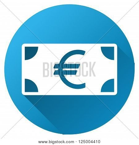 Euro Banknote vector toolbar icon for software design. Style is a white symbol on a round blue circle with gradient shadow.