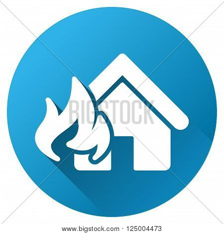Fire Realty Damage vector toolbar icon for software design. Style is a white symbol on a round blue circle with gradient shadow.