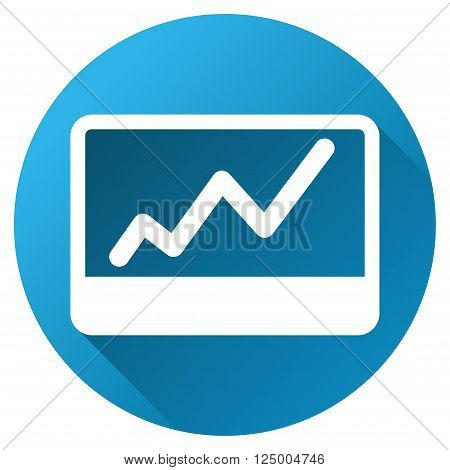 Stock Market Chart vector toolbar icon for software design. Style is a white symbol on a round blue circle with gradient shadow.