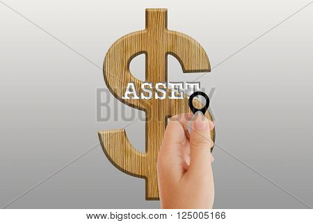 Women hand with lens on text asset and dollar symbol
