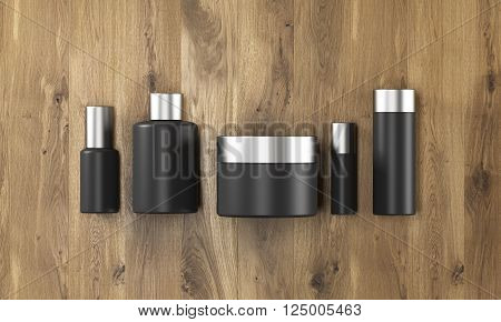 Row of black cream boxes of different shapes. Wooden background. Concept of cosmetics. Mock up. 3D rendering