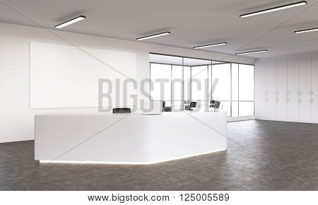 Empty white reception with laptops big white board on wall behind. Side view. Concept of reception. Mock up. 3D rendering