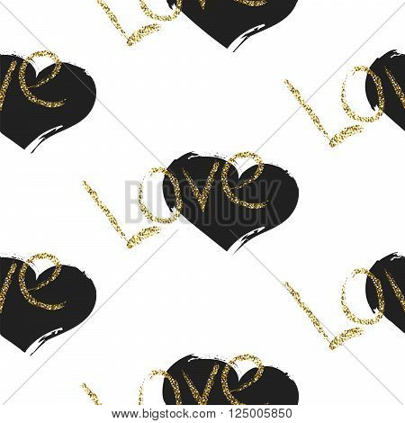 Glitter scandinavian black brushed heart ornament. Vector gold love seamless pattern collection. Modern glam shimmer details stylish texture.
