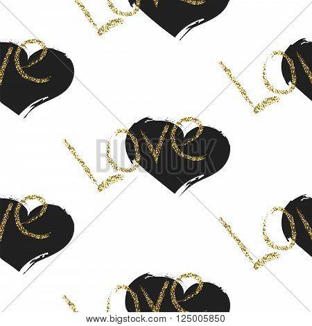 Glitter scandinavian black brushed heart ornament. Vector gold love seamless pattern collection. Modern glam shimmer details stylish texture.