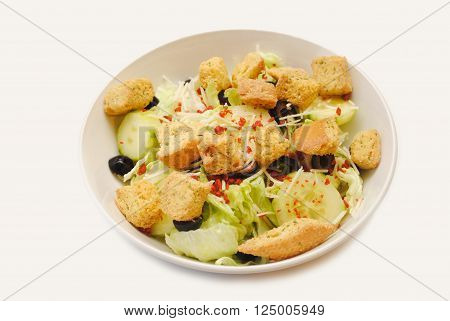 A Bowl of Croutons on a Vegetable Salad