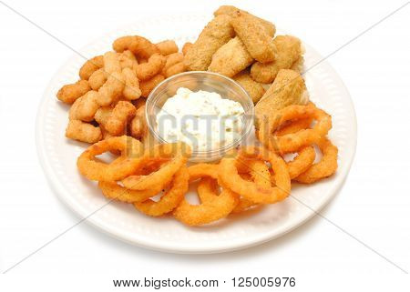 Popcorn Shrimp Mozzarella Sticks & Onion Rings Served with Dipping Sauce