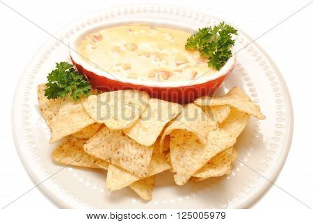 Tortilla Chips Served with Cheesy Salsa on a White Plate