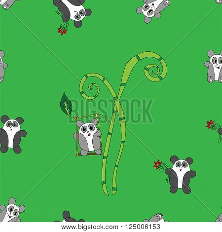 Seamless panda bear bamboo on the color background