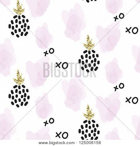 Glitter scandinavian xoxo pineapple ornament. Vector gold seamless pattern collection. Modern shimmer details and pink brushstrokes stylish texture.