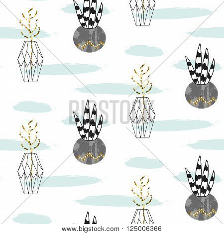 Glitter scandinavian ornament. Concrete geometric pots with plants. Vector gold seamless pattern collection. Modern shimmer details mint brushstroke texture.