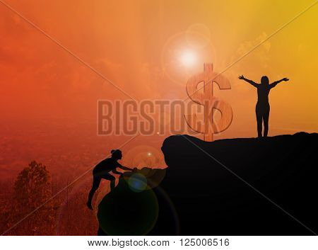 Women Silhouette Climbing And Standing On Cliff With Dollar Symbol