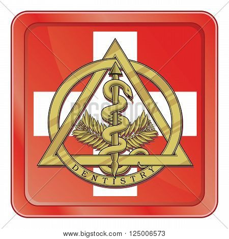 Illustration of the gold dentistry symbol inside of an emergency type symbol or icon.