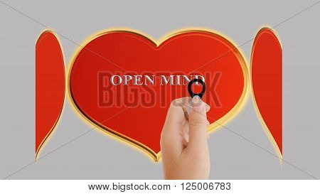 Beautiful big golden and red heart and text open mind with women hand taking focus lens