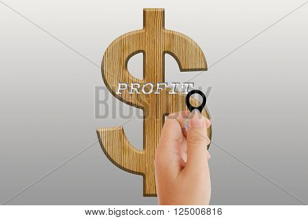 Women hand with lens on text profit and dollar symbol