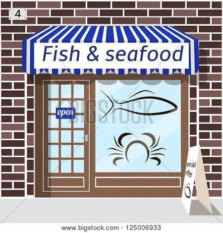 Fish and seafood shop building. Fish and crab sticker on window. Blue awnings. Brown brick facade. Advertising panel at the fore.