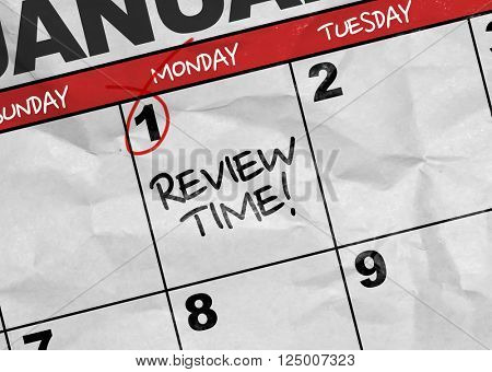 Concept image of a Calendar with the text: Review Time
