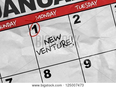 Concept image of a Calendar with the text: New Venture