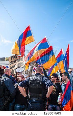STRASBOURG FRANCE - APR 8 2016: Armenian diaspora protest outside Azerbaijan Embassy against the 2016 clashes in Nagorny-Karabakh the region disputed by Armenia and Azerbaijan