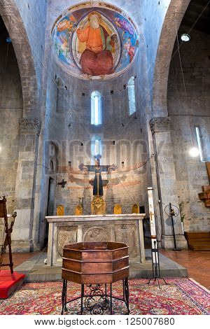 Interior of the Church of Saint Andrea (Pieve di Sant'Andrea) VIII century. Pistoia, Tuscany, Italy