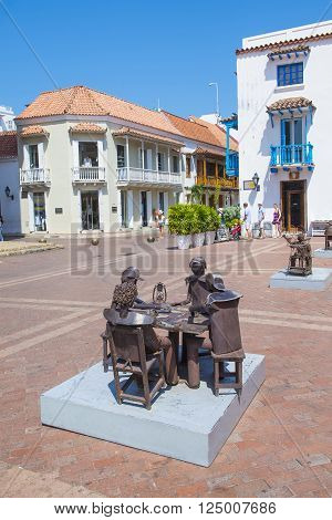 CARTAGENA COLOMBIA - FEB 04 : Street view of the old town of Cartagena Colombia on Februery 04 2016. The historic port city Cartagena is UNESCO World Heritage Site since 1984.