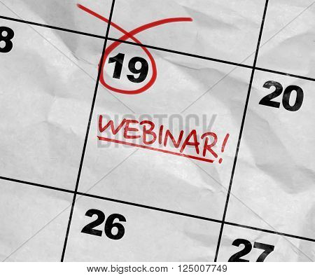 Concept image of a Calendar with the text: Webinar