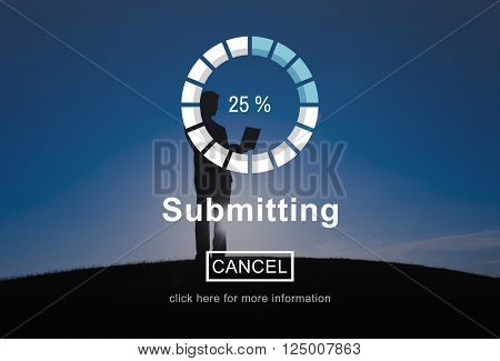 Submitting Send Transferring Hand on Data Technology Concept