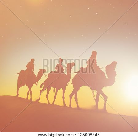 Three Wise Men Camels Desert Concept