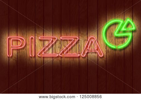 Illustration of a neon PIZZA sign against a dark wooden wall