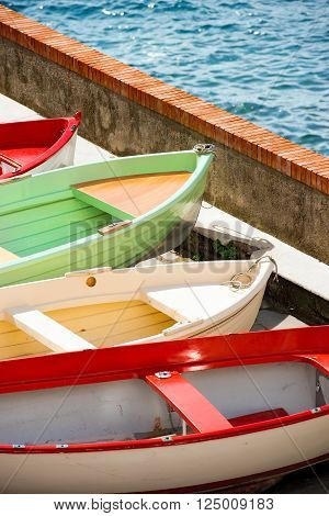 Rowboats in Tellaro, small village near Lerici, La Spezia, Liguria, Italy