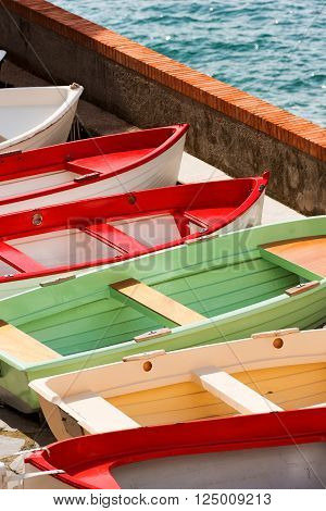 Rowboats in Tellaro small village near Lerici La Spezia Liguria Italy