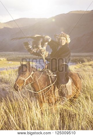 Kazakh on Horse With Eagle Concept