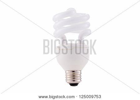 Fluocompact mini light bulb isolated on white background,