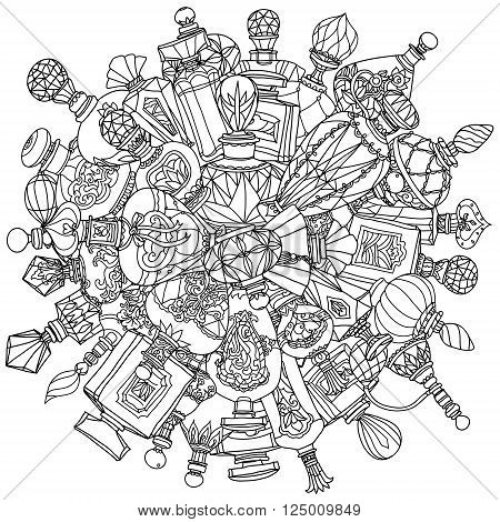 Mandala of fantasy vintage perfumes. mandala Pattern for adult coloring bookcoloring book for adults in vector. Doodles. Black and white. Colouring book style. For adult coloring book.